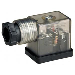 Вилка електромагнітного клапана DIN 43650B зі світлодіодом - мала