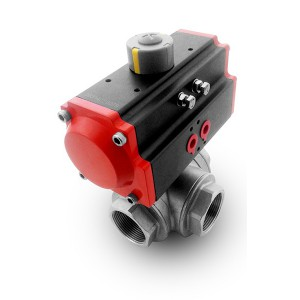 3-ходовий кульковий клапан з нержавіючої сталі DN40 1 1/2 дюйма з пневматичним приводом AT75