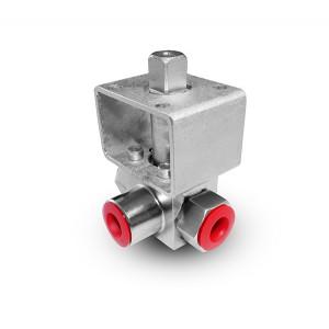 """3-ходовий кульовий кран високого тиску 1/4 """"SS304 HB23 монтажна пластина ISO5211"""