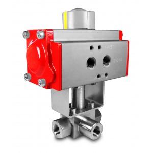 3-ходовий кульовий кран високого тиску 1/2 дюйма SS304 HB23 з пневматичним приводом AT63