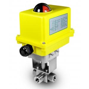 3-ходовий кульовий кран високого тиску 1/4 дюйма SS304 HB23 з електричним приводом A250