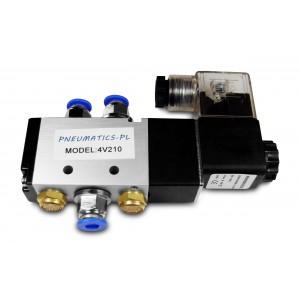 Соленоїдний клапан 5/2 4V210 1/4 дюйма для пневматичних циліндрів + роз'єми 8мм